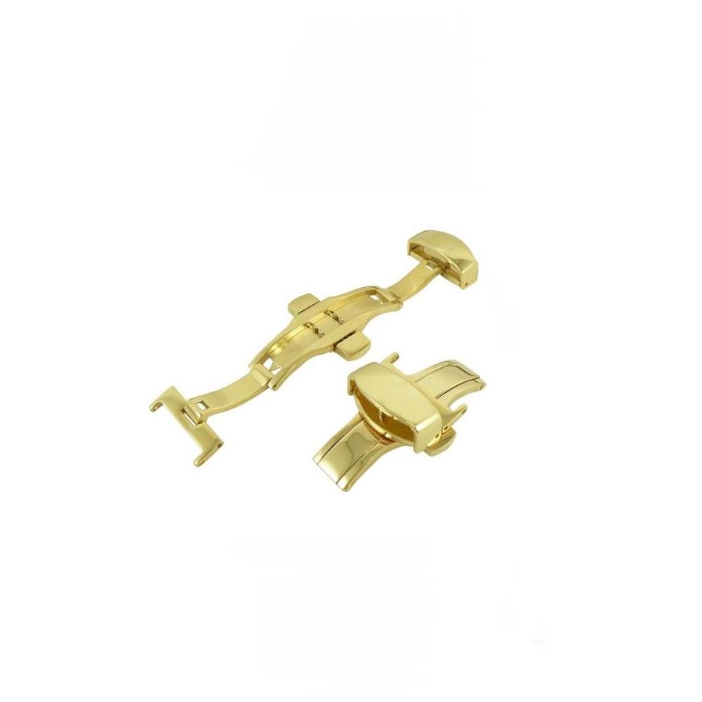 高品質不鏽鋼雙折彈壓蝴蝶摺疊錶扣-金色
