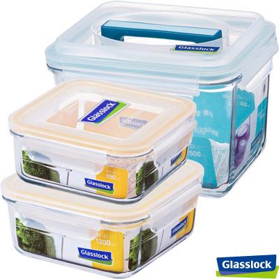 Glasslock強化玻璃微波保鮮盒 -方正大容量3件組