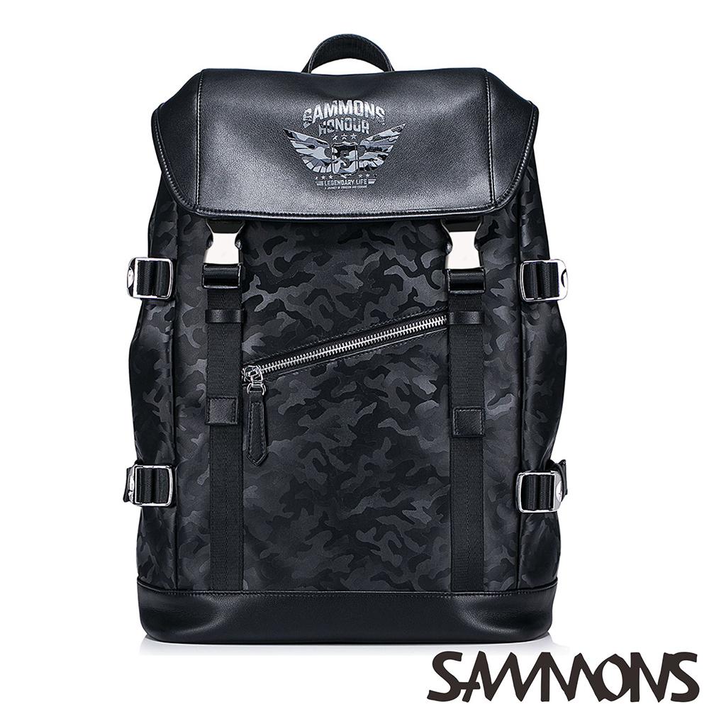 SAMMONS 卡斯帕帥氣休閒後背包 迷彩黑