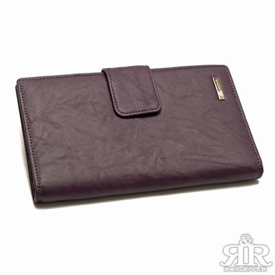 2R 皺狀牛皮Rita壓釦長夾 果漾紫