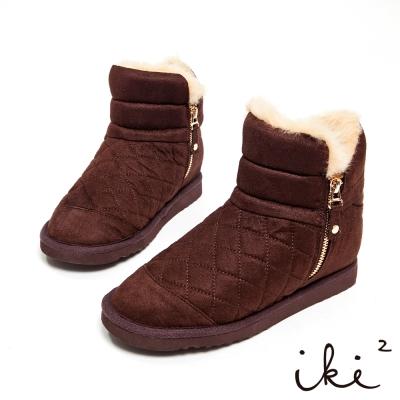 iki2冬戀序曲-時尚菱格紋側拉鍊內增高雪靴-可可咖