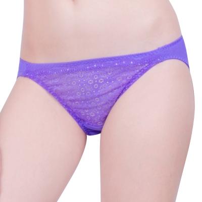 思薇爾 妦吻系列M-XL蕾絲低腰三角褲(富貴紫)