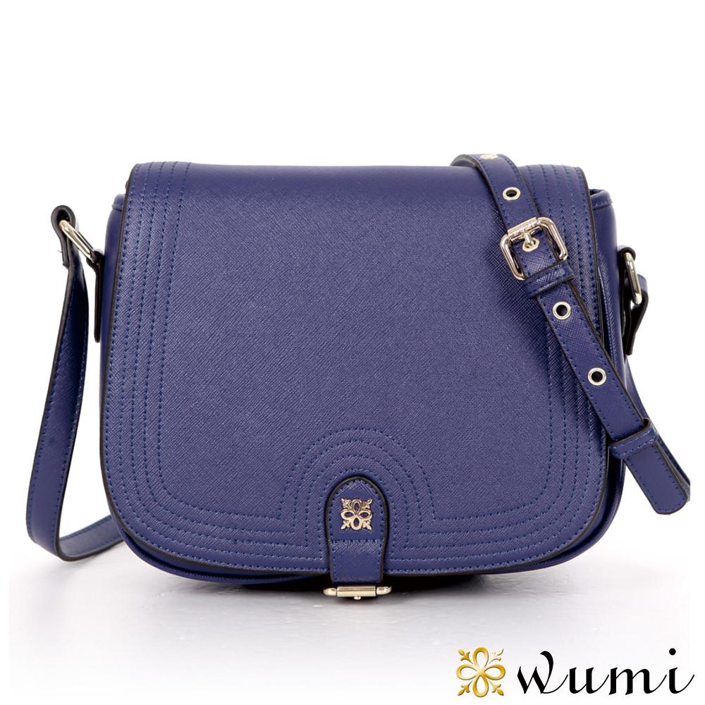 WuMi 無米 桃瑞絲十字紋馬鞍包  英倫藍
