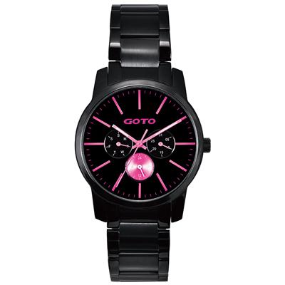 GOTO 繽紛色彩時尚腕錶-IP黑x桃/40mm