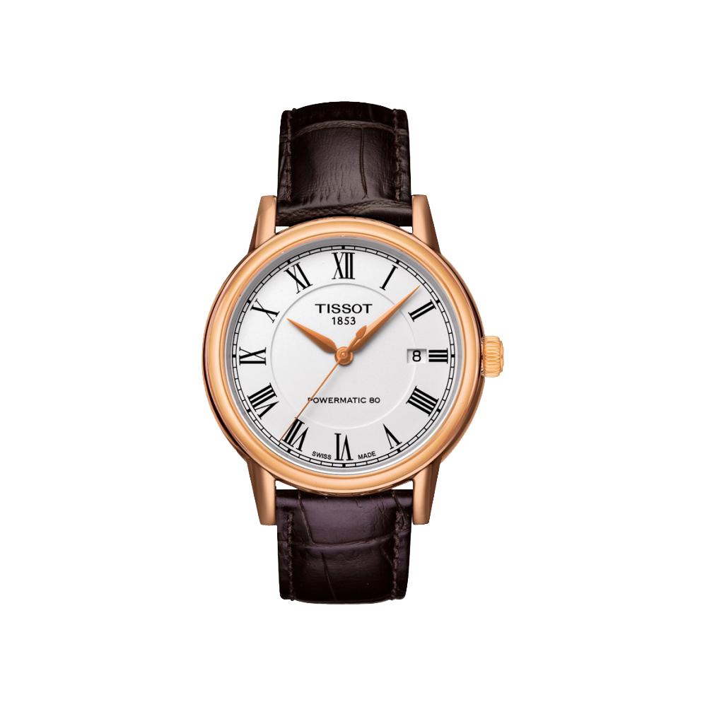TISSOT Carson Powermatic 80 羅馬機械腕錶-銀x玫塊金/39mm