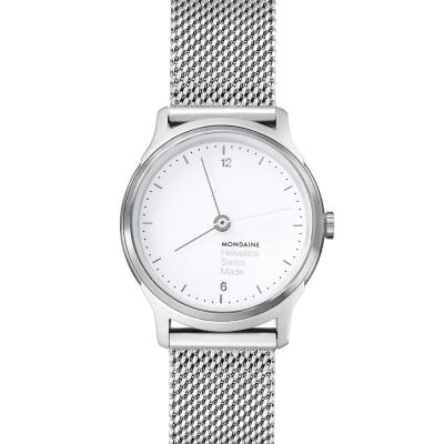 MONDAINE 瑞士國鐵Helvetica 聯名腕錶- 白x米蘭錶帶版/26mm