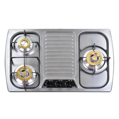 和成HCG 銅合金爐蓋鑄鐵大爐架不鏽鋼檯面式三口瓦斯爐(GS303)