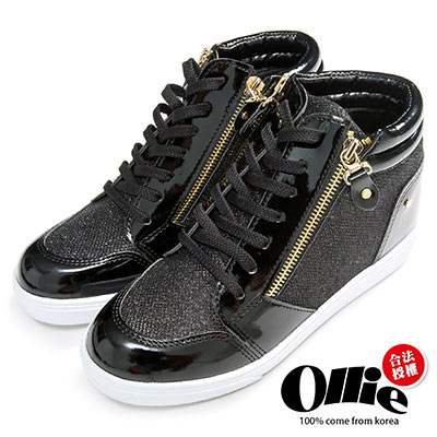 Ollie韓國空運-正韓製閃亮金蔥雙拉鍊休閒增高鞋-黑