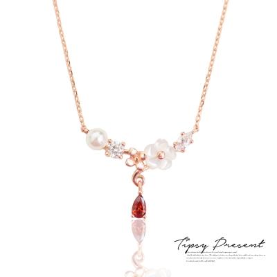微醺禮物項鍊925純銀鍍金紅鋯石珍珠花朵短鍊
