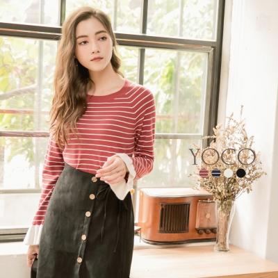 東京著衣-yoco 法國好女孩多色喇叭袖口針織上衣-S.M.L(共四色)