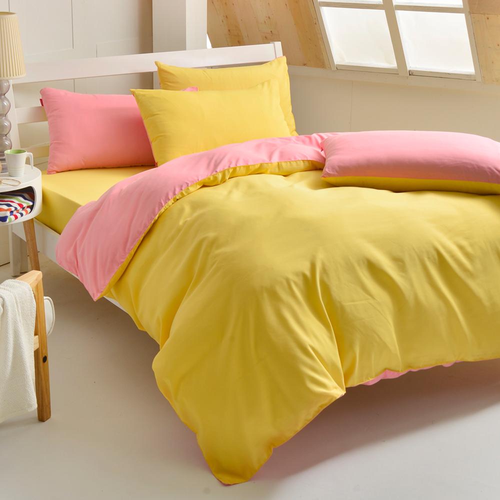 英國Abelia 漾彩混搭 雙人四件式天使絨被套床包組-黃*深粉