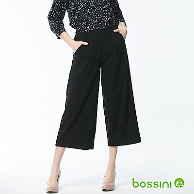 bossini女裝-素色七分寬褲06黑