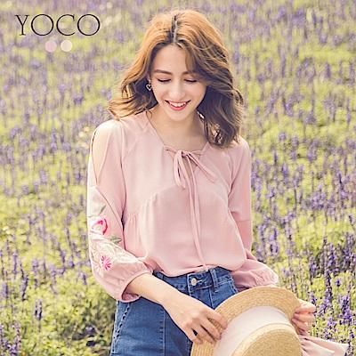 東京著衣-yoco 恬靜午後領綁帶澎袖花朵刺繡上衣-S.M.L(共二色)