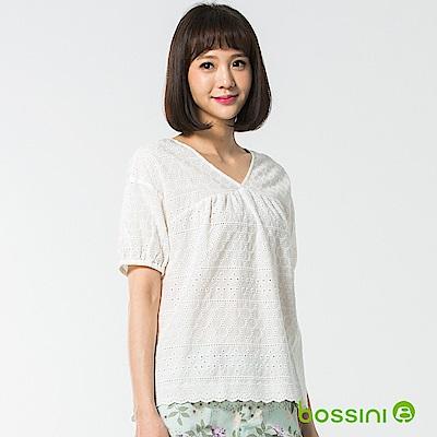bossini女裝-短袖造型襯衫03灰白