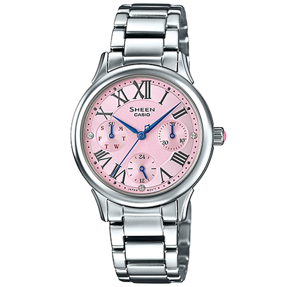 SHEEN 羅馬時刻施華洛世奇時尚佳人腕錶(SHE-3049D-4A)-粉面/30.5mm