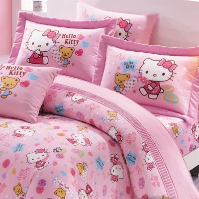 鴻宇 抗菌 Hello Kitty 我的甜蜜夥伴-單人三件式兩用被床包組