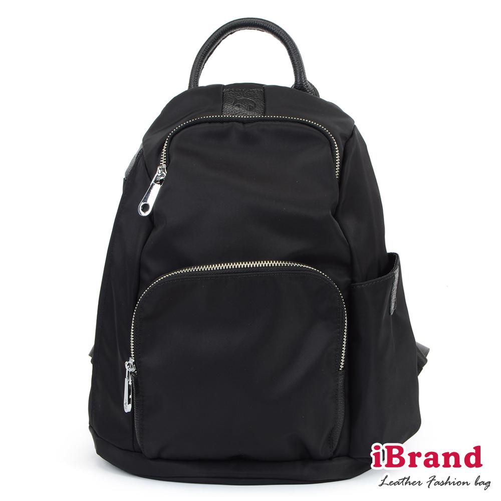 iBrand 率性時尚後開式防盜尼龍後背包-黑