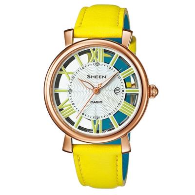 SHEEN經典華洛世奇水晶鏤空設計雙色皮帶錶(SHE-4047PGL-9A)黃34mm