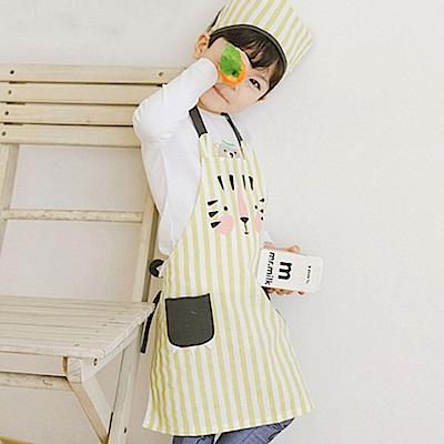BEBEZOO 韓國 條紋防水圍兜頭巾兩件組
