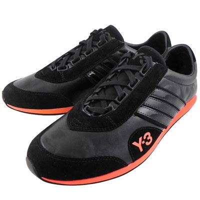 Y-3山本耀司 黑色真皮三線造型運動休閒鞋-女款US 7.5/8.5號