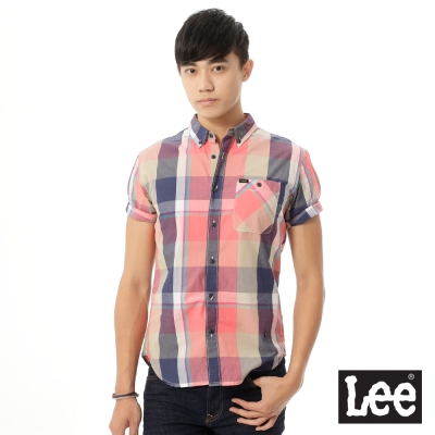Lee 短袖格子襯衫UR-男款-粉色