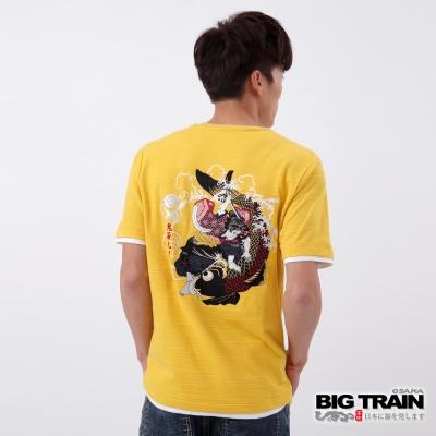 BIG TRAIN 鬼若丸鬥鯉圓領T-男-明黃