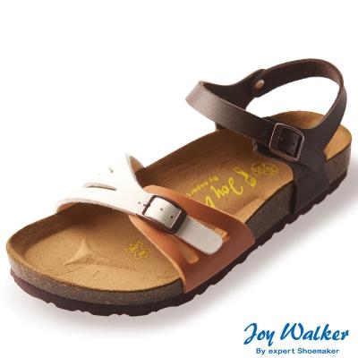 Joy Walker 繽紛色彩一片式平底涼鞋*白咖駝