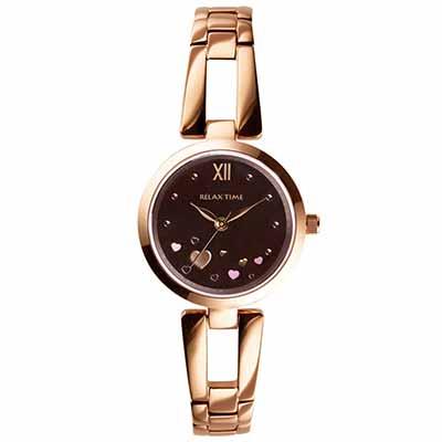 RELAX TIME 小資?微甜錶款(RT-71-6)咖啡愛心x玫瑰金/28mm