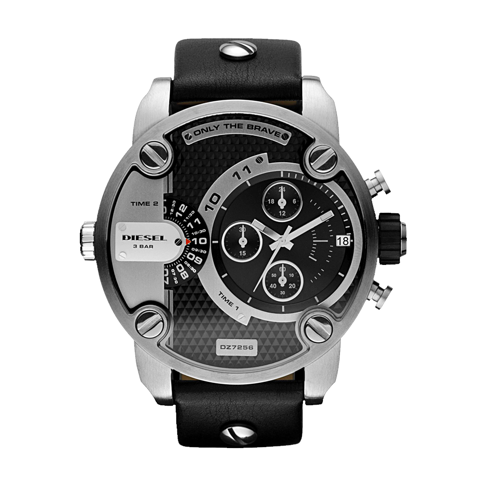 DIESEL Only The Brave 雙時區計時腕錶-黑/52mm