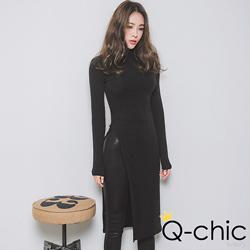 正韓 高領側開衩極簡長版上衣 (共二色)-Q-chic