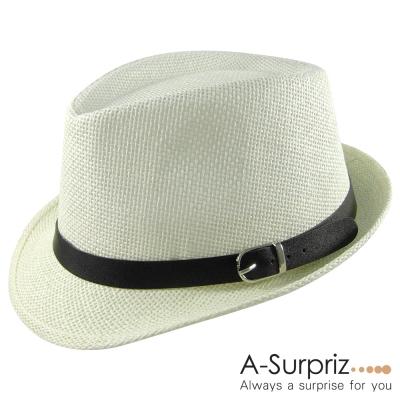 A-Surpriz 時尚雅痞風格伸士帽(米白)
