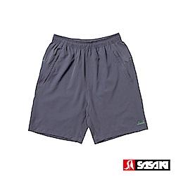 SASAKI 抗紫外線功能四面彈力網球短褲-男-中灰/艷綠