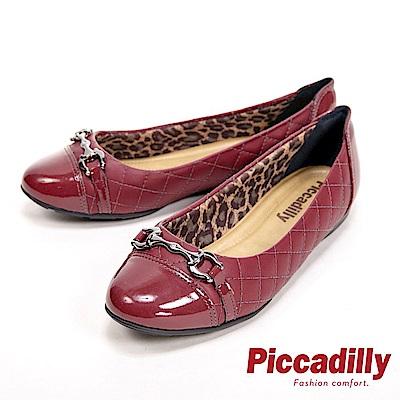 Piccadilly 輕量舒適漆皮環扣式格紋平底 女鞋-酒紅(另有藍)