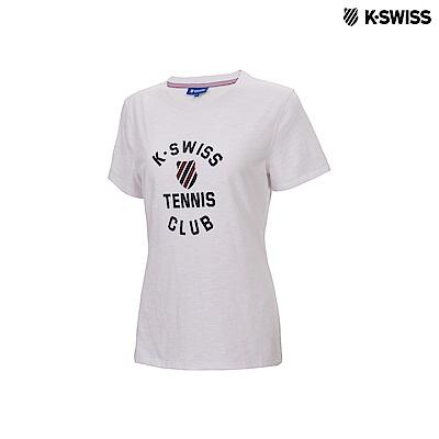 K-Swiss Tennis Club Tee印花短袖T恤-女-白