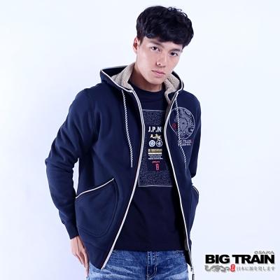 BIG TRAIN 龍魂貼合內毛絨連帽外套-男-深藍