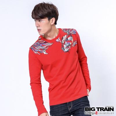 BIG TRAIN 金魚手繪風圓領T-男-艷紅