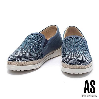 休閒鞋 AS 魅力搶眼雙色晶鑽排列設計全真皮草編厚底休閒鞋-藍