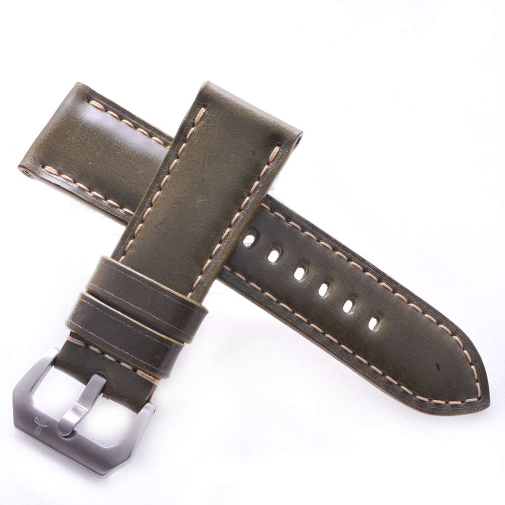 TED SU 太和錶帶 理想大地Panerai 沛納海代用帶綠色馬皮米色線-26*24mm