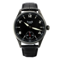 FIBER 六點紅色小秒手上鍊軍用機械錶款(IP黑)/44mm