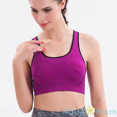 運動內衣 素色格紋縷空美背無鋼圈背心 (紫色)-AQUA Peach