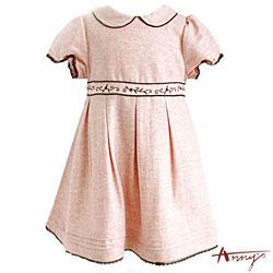 Anny氣質圓領壓紋蕾絲公主袖洋裝*5222粉