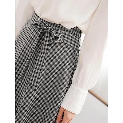 下襬不規則格紋綁帶中長裙-OB嚴選