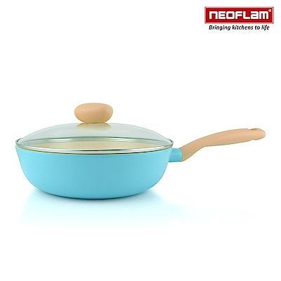 韓國NEOFLAM Retro公主鍋系列陶瓷不沾炒鍋26cm+玻璃鍋蓋