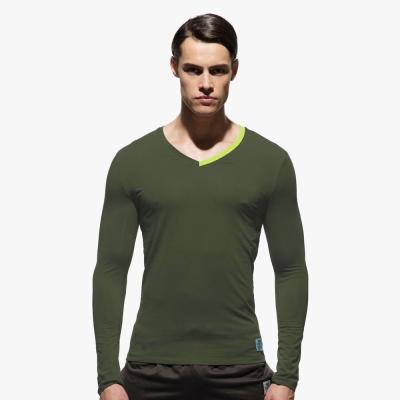 P.S極簡螢光領條舒適型男V領長袖T恤(軍綠色),Private Structure