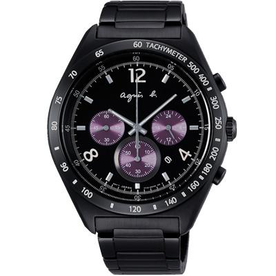 agnes b. 環視宇宙三眼計時腕錶(BW8004P1)-黑x紫/42mm