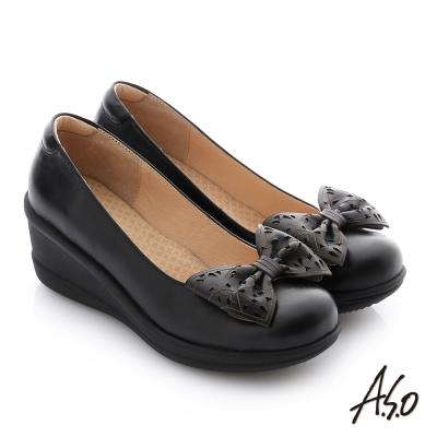 A.S.O 紓壓氣墊 真皮蝴蝶結飾釦楔型休閒鞋 黑色