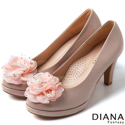 DIANA 時尚指標--NO.5綻放花朵真皮跟鞋-粉