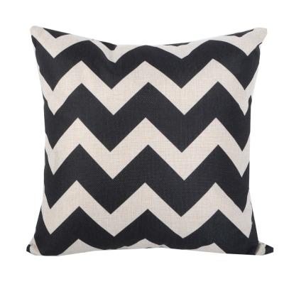 現代W幾何 棉麻舒適方型抱枕.靠枕 (黑色)