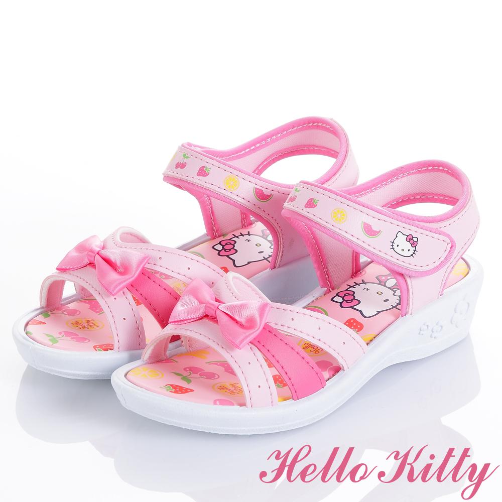 HelloKitty 水果系列舒適減壓厚底涼鞋童鞋-粉(中小童)