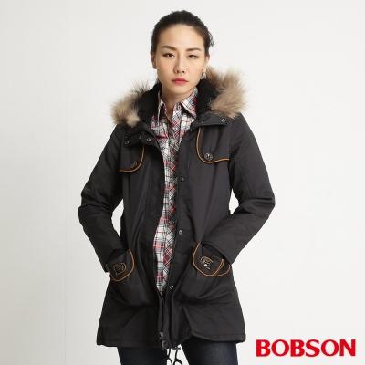BOBSON 女款平織毛絨布長版外套(黑88)